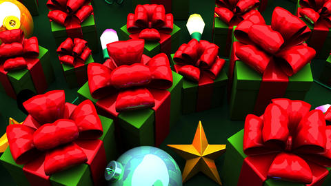 Christmas Gift Boxes On Green Background Animation