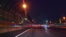"""Night highway drive - Automatic toll collection gate. """"ETC"""" Niiza toll gate Image"""