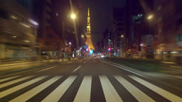 Video running Japan National Route 1 towards Tokyo Tower Live Action