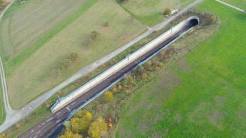 Train railroad track - tunnel entrance Footage