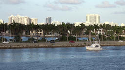 USA Florida Miami evening mood with motorboat and McArthur Causeway Footage