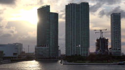 USA Florida Miami skyscrapers of Biscayne Bay in sunset Footage
