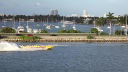 USA Florida Miami speedboat in front of MacArthur Causeway Image