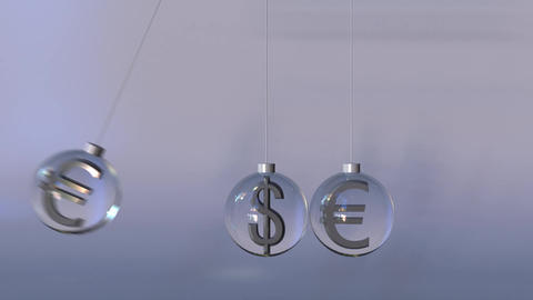Swinging Newton's cradle made of dollar and euro currency symbols. Forex Footage