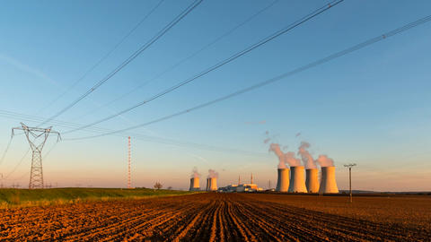 Time lapse footage of nuclear power plant during sunset Footage
