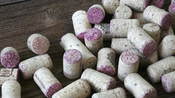 Many different wine corks. Closeup of wine corks. Corks from bottles of red ビデオ
