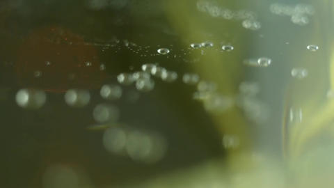 Bubbles inside a glass of champagne Footage