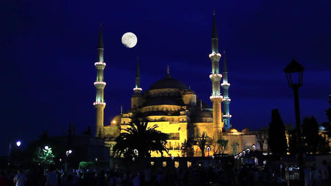Blue Mosque in Istanbul with shining full moon. Timelapse. Blue Mosque at night Footage