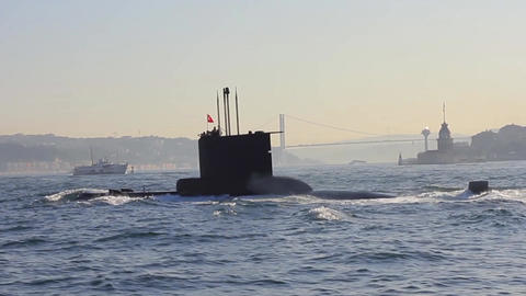 Submarine moving into Bosporus waters. Navy Submarine. Close-up tracking shot Footage