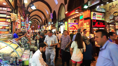 Turkish people shop in famous Egyptian Bazaar (Spice Market) Image