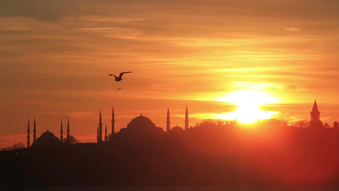 Istanbul, Sarayburnu. In the distance are such landmarks as Blue Mosque, Hagia Footage