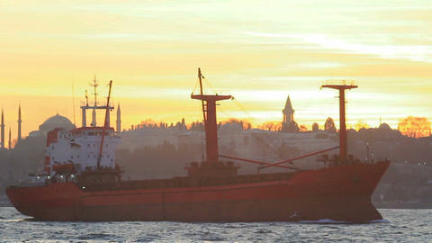 Cargo ship sails on sunset in Istanbul Footage