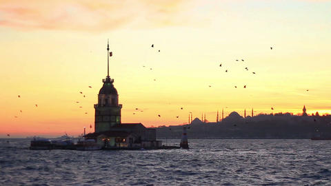 Istanbul from Salacak coast. Maidens Tower with Mosques and Ottoman palace are Footage