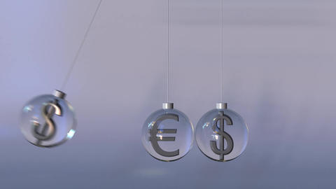 Swinging Newton's cradle made of euro and dollar currency signs. Forex Footage