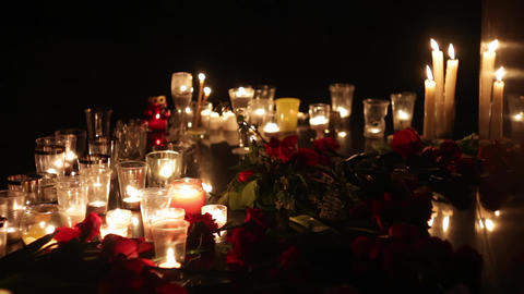 Candles and flowers at the memorial in memory of the victims of the victims of Footage