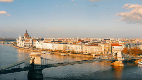 Panorama of Budapest with the Danube and the Parliament building, Hungary Footage
