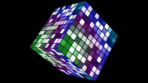 Broadcast Hi-Tech Twinkling Spinning Cube, Multi Color, Corporate, Alpha Matte, Loopable, 4K Animation