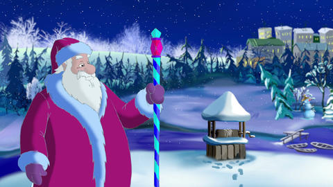 Santa Claus Blowing Cold Wind Animation