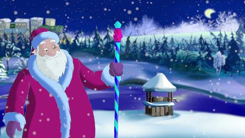 Santa Claus Blowing Snow Image