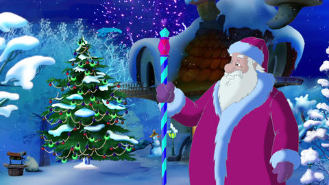 Santa Claus Lights a Christmas Tree Animation