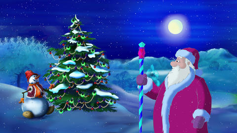Santa Claus Lights a Christmas Tree in the Moonlit Night Animation