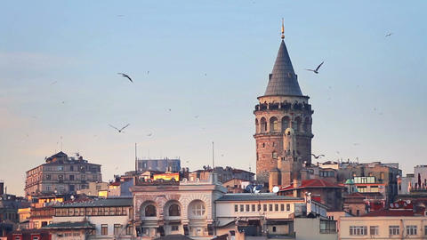 Galata Tower, Istanbul - Turkey Footage