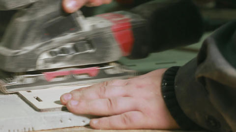 Close-up of male hands a professional grinding machine manufactures the cleaning Footage