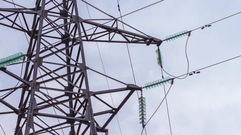 Power lines. Insulation of high voltage wires. Reading renewable energy. Footage