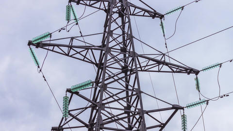 High-voltage support of power lines. Power plants generators and wires, energy Footage