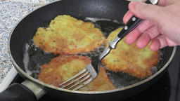 Cooking fried potato pancakes Footage