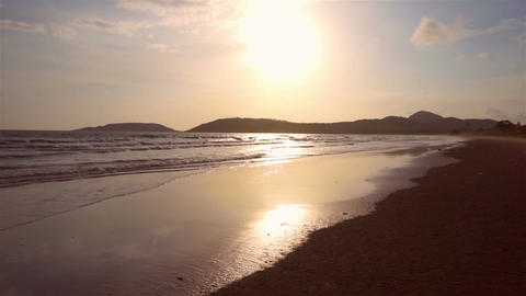 Evening sea wave at beach in Thailand Footage