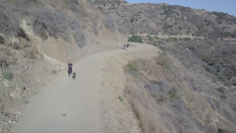 Guy with Dog is running up a hiking trail Footage