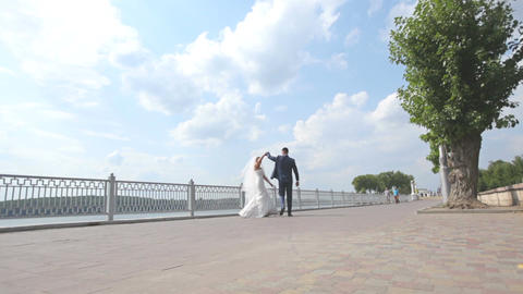 wedding dance. newlyweds are dancing on the waterfront. bride and groom dance Live Action