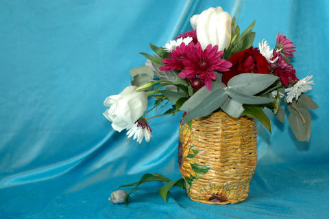 A beautiful bouquet of flowers from tulips, roses and chrysanthe フォト