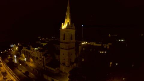 Night city from a bird's-eye view. Aerofutazh. Malta ビデオ