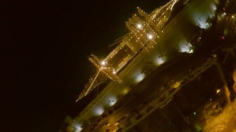 Aerofutazh. Malta.night port. yacht decorated with illumination. a wonderful Footage
