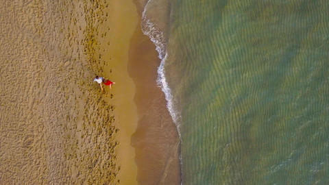 Aerial view of couple in love walking on the beach holding hand in hand Footage