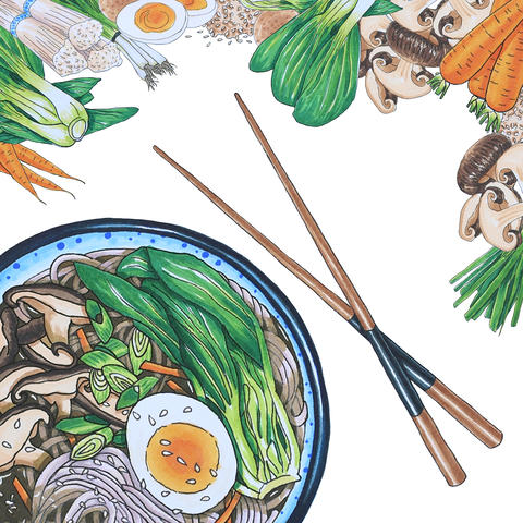 Hand Drawn Soba Noodle Soup | Square display Photo