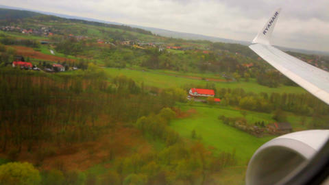 plane is landing. View from the airplane window Live Action