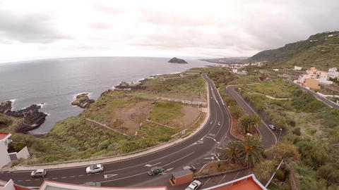 Aerial photography of motorway near and sea coast of Tenerife Canary Footage