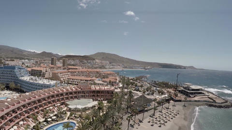 Playa de las Americas in Tenerife, Aerial view Footage