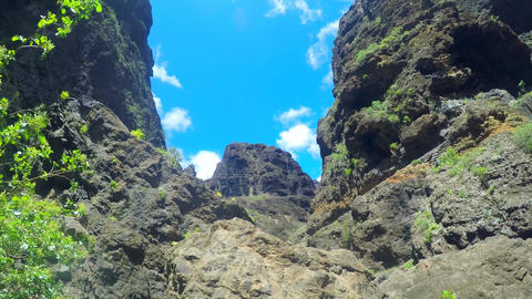 scenic landscape in Masca canyon and cliffs in Tenerife, Canary islands, Spain GIF