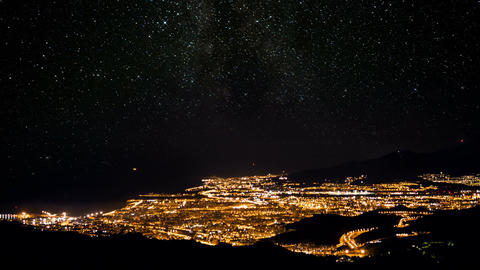 Time Lapse, Starry Night Over Malaga At New Years Eve, Andalusia, Spain Live-Action