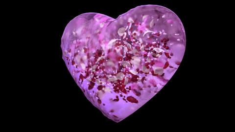 Rotating Pink Ice Glass Heart with snowflakes, colorful petals Alpha Matte Loop Animation