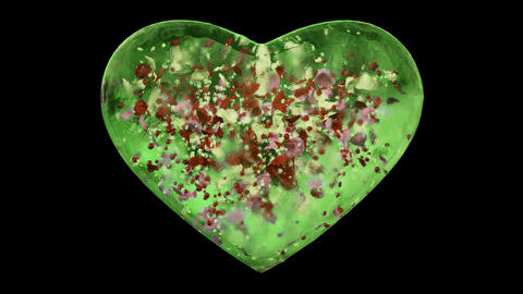 Green Ice Glass Heart with snowflakes and colorful petals Alpha Matte Loop 4k Animation