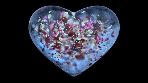 Blue Ice Glass Heart with snowflakes, colorful petals inside Alpha Matte Loop 4k Animation