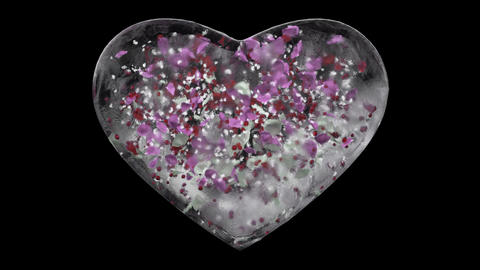 White Ice Glass Heart with snowflakes and colorful petals Alpha Matte Loop 4k Animation