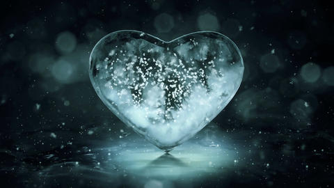Rotating Grey Noir Ice Glass Heart with snowflakes inside motion background Loop Animation