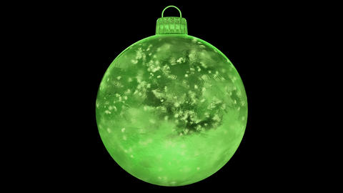 Christmas New Year Green Ice Glass Bauble Decoration snow alpha matte loop 4k Animation