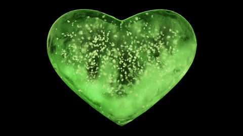 Green Ice Glass Heart with snowflakes inside Alpha Matte Loop 4k Animation